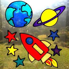 Stained Glass Window Decals 15 95 Earth Rocket Planet Stars Space Set Suncatcher Window