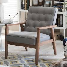 Upholstered Accent Chairs by Baxton Studio Sorrento Mid Century Gray Fabric Upholstered Accent