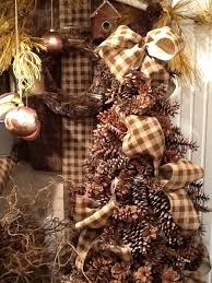 pine cone tree with burlap check ribbon trendy tree