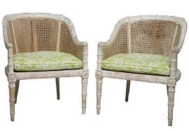 Vintage Bamboo Chairs Of Vintage Carved Wood Faux Bamboo Armchairs