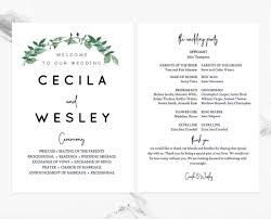print wedding programs forest woodland greenery wedding program template for diy print