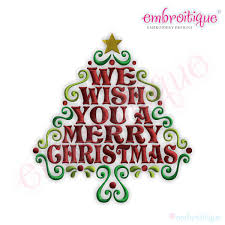 embroitique we wish you a merry word tree embroidery