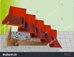 split roof above staircase entrance basement stock vector