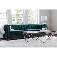 emerson modern green velvet sofa