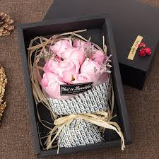 flowers in a box artificial flowers pink 11 pcs s day gift soap