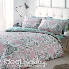 paisley pastel pink duvet quilt bedding cover and pillowcase