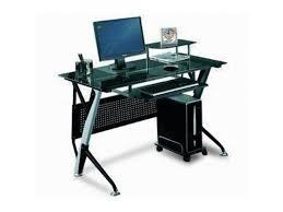 bureau informatique noir bureau d ordinateur plateau en verre noir trademos