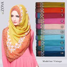 jilbab zoya koleksi kerudung zoya segi empat madeline vintage model busana
