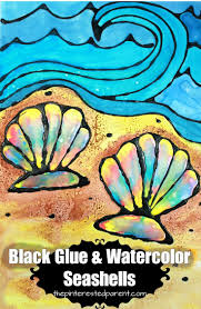 printable black glue and watercolor seashells black glue is a
