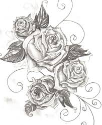 swirls grey rose and banner tattoo designs
