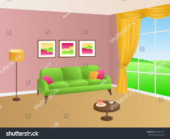 Pink Sofa Com Living Room Green Pink Sofa Yellow Stock Vector 423391114