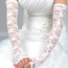 ivory opera length fingerless lace wedding gloves