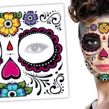 tattoo sales day of the dead floral face halloween skull