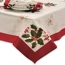 bed bath and beyond christmas table linens buy christmas tablecloth oblong from bed bath beyond