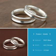 ph7 handmade couples rings simple concave wedding bands set