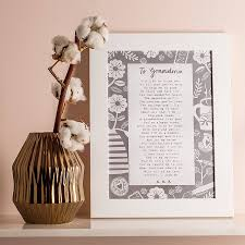 a letter to grandmother u0027 poem print by bespoke verse
