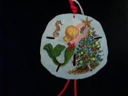mermaid sand dollar ornament ornament handpainted