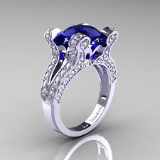 Wedding Engagement Rings by French Vintage 14k White Gold 3 0 Ct London Blue Sapphire Diamond