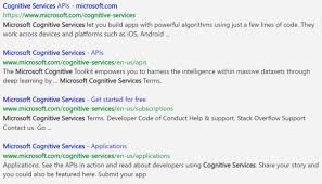 cognitive service api search building apps for windowsbuilding