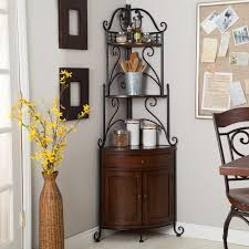 What Do You Put On A Bakers Rack Home Styles Small Wood Bakers Rack With Two Door Hutch Hayneedle
