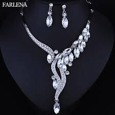bridal jewelry necklace earrings images Farlena wedding jewelry fashion crystal rhinestones necklace jpg