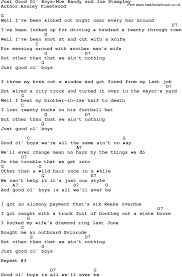 country music just good ol u0027 boys moe bandy and joe stampley lyrics
