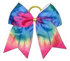 ribbon ponytail new tie dye rainbow cheer bow pony 3 ribbon