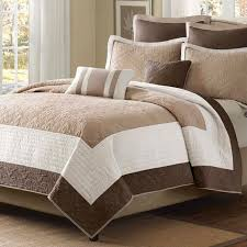 Burgundy And Brown Comforter Set King Brown Ivory Tan Cream 7 Piece Quilt Coverlet Bedspread Set