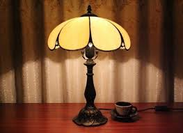Tiffany Table Lamp Shades Lighting Bronze Table Lamp Using Burlap Shade For Pretty Glass