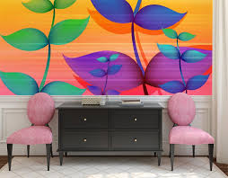 wall mural painted flowers fotomurales arte kids wall mural strawberry shortcake