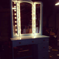Blue Vanity Table Bedroom Rectangle Vanity Mirror With Light Bulbs And Black Wooden