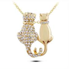 allergy free jewelry n187 cats necklace silver and gold necklace jewelry allergy