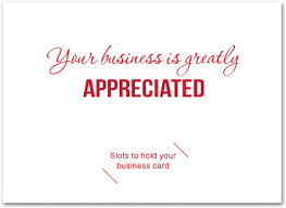 thank you card size thank you card with slots for business card business greeting