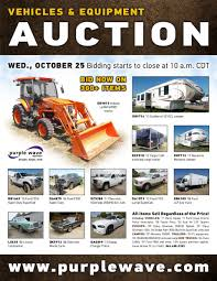 wednesday october 25 vehicles and equipment auction purple