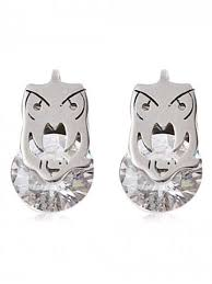 owl stud earrings silver alloy rhinestone owl stud earrings rosegal