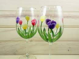 wine glass painting tulip wine glasses hand painted flowers red purple yellow u2026 flickr
