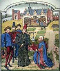 an english meval painting of the lord of the manor in his garden most of the art of this period was in the form of illuminated mcripts carvings