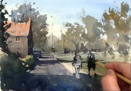 watercolour demonstration how to paint a country scene with