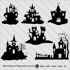 silhouettes of halloween houses halloween clipart haunted house