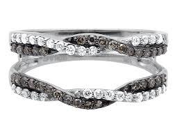 Wedding Ring Enhancers by White Gold Brown Diamond Jacket Guard Ring Wrap Enhancer Wedding