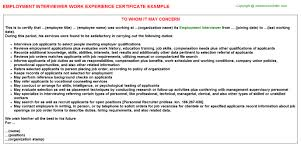 employment interviewer work experience certificate