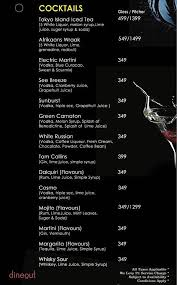 martini bar menu menu of dudu grill and bar kanathur chennai dineout