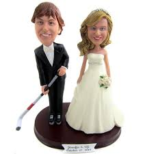 personalised bride and groom hockey player wedding cake toppers