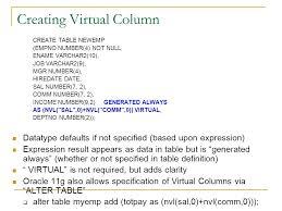 Alter Table Modify Column Oracle Oracle 10g U0026 11g For Dev Virtual Columns Dml Error Logging Ppt