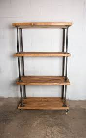 wooden bookshelf industrial pipe industrial bookcase