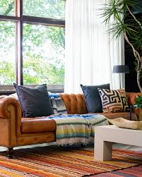 Mid Century Modern Living Room by Higgins Chesterfield Sofa In Dakota Modern Saddle Caramel Leather