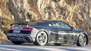 wrapped r8 audi r8 spied with massive oval exhaust tips