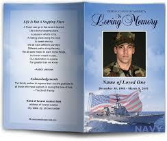 Memorial Program Template Navy Military Patriotic Funeral Memorial Program Template