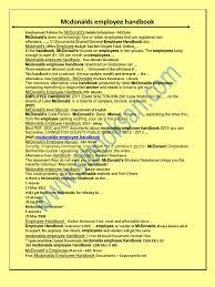 mcdonalds employee handbook mc donald u0027s employment
