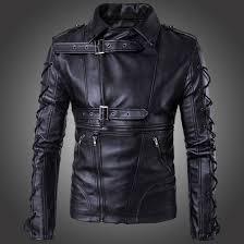 mens black leather motorcycle jacket men u0027s punk zipper side lace up faux leather motorcycle biker